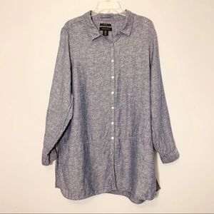 TAHARI Linen Tunic in Blue Size 1X